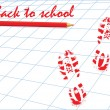 Back to School type, pencil and footprints — Stock Vector