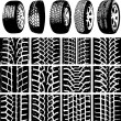Stock Vector: Car wheels and tyre tracks
