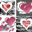 Stock Vector: Four grungy vector hearts