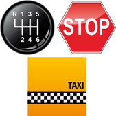 Car's gear stick, stop sign and taxi cab background — Stock Vector