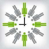 Human clock conceptual illustration — Stock Vector