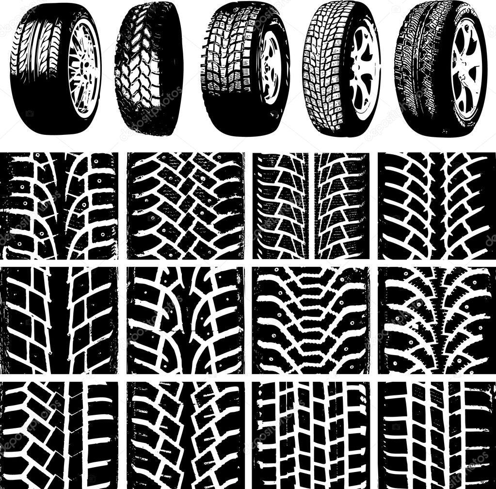 汽车车轮和轮胎轨道 — 矢量图片作者 oleggerasymenko