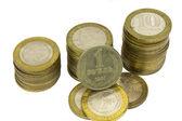 Ruské a sovětské mince na bílém pozadí. — Stock fotografie