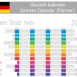 2013 Type-1 German year planner months are horizontal — Stock Vector