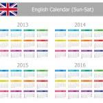2013-2016 Type-1 English Calendar Sun-Sat — Stock Vector