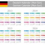 2013-2016 Type-1 German Calendar Mon-Sun — Stock Vector #10109524