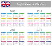 2013-2016 Type-1 English Calendar Sun-Sat — Vettoriale Stock