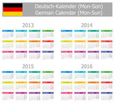 2013-2016 Type-1 German Calendar Mon-Sun — Stock Vector