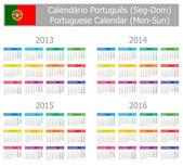 2013-2016 Type-1 Portuguese Calendar Mon-Sun — Stock Vector