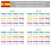 2013-2016 Type-1 Spanish Calendar Mon-Sun — Stock Vector