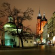 Night view of the Market Square in Krakow, Poland — Stock Photo