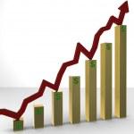 Rising Stocks on Golden Bars — Stock Photo #9452357
