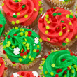 Red and Green Cupcakes - Stock Photo