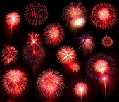 Red Fireworks Collection — Stock Photo