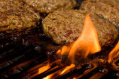 Grilling Burgers — Stock Photo