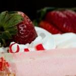 Pink Strawberry Whipped Cream Cake — Stock Photo