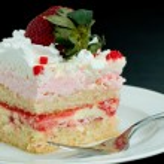 Pink Strawberry Whipped Cream Cake Slice — Stock Photo