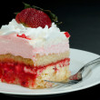 Pink Strawberry Whipped Cream Cake Slice — Stock Photo #9471662