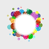 Abstract circle frame with colored circles and small white stars — Stock Vector