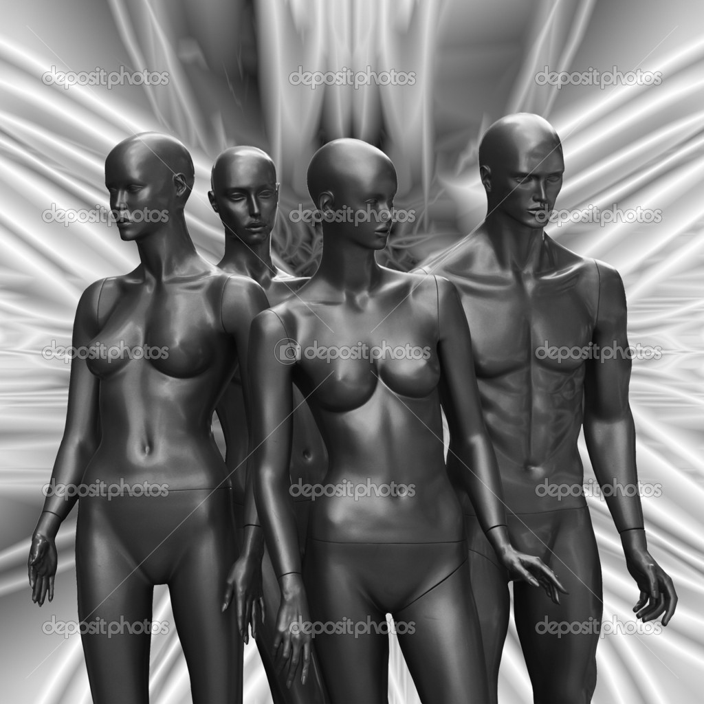 Group of female and male mannequins without closes  on black and white abstract  background.  — Stock Photo #9341934