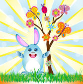 Easter rabbit with abstract summer tree background vector for di — Stock Vector