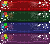 Set of four colored party banners — Stock Vector