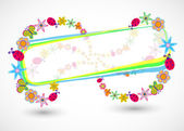 Vector frame with summer floral objects — Stock Vector
