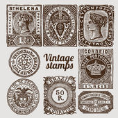 Vintage vector stamps — Stock Vector