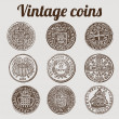 Silver coins collection / vintage illustration — Stock Vector #10283944