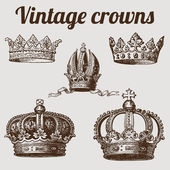 Collection of crowns / vintage illustration — Stock Vector