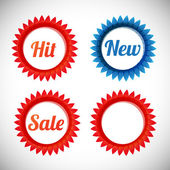 Vector stickers — sale, new, hit — Stock Vector
