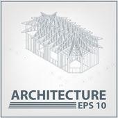 Projet de maison d'architecture. illustration vectorielle — Vecteur