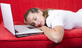 Woman falls asleep while working — Stock Photo