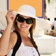 Woman in white dress on vacation — Stock Photo