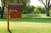 Zarejestruj się na polu golfowym — Zdjęcie stockowe