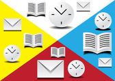 Watch, book and letter — Stock Vector