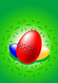 Three colored Easter eggs — Stock Vector