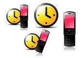 Часы и мобильный телефон — Cтоковый вектор