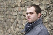 Young Man In Gray Coat — Stock Photo