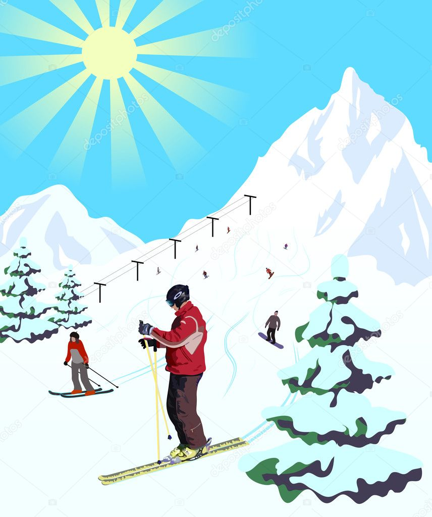 Illustration of winter sport resort. Landscape with snow mountains and skiers.  Stock Vector #9349122