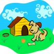 Stock Vector: Dog and kennel