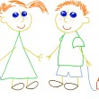 Royalty-Free Stock Vector Image: Little girl and little boy