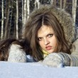 Stock Photo: Beautiful girl poses on snow