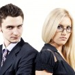 Boy and a girl colleague — Stock Photo