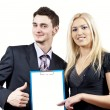 Business colleagues holding a folder — Stock Photo #10092653