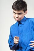 Boy points his finger — Stock Photo