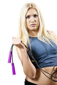 Girl is an athlete with a rope — Stock Photo