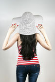 Girl is back with a hat — Foto Stock