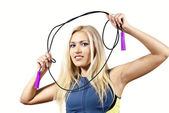 Girl with skipping rope — Stock Photo