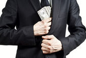 Taking bribe money — Stock Photo